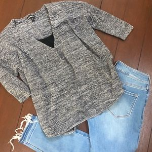 Small Express Black and White Knit Sweater